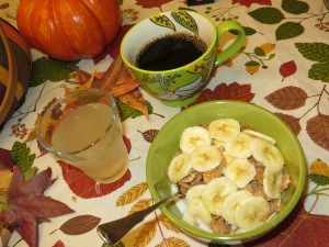 A glass of lemon coconut water and a quality cup of coffee complete this breakfast!